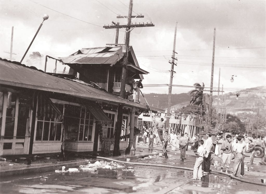Historic photo from Dec. 7, 1941 shows the destruction at King and McCully streets. Photo courtesy of the Honolulu Star-Advertiser.