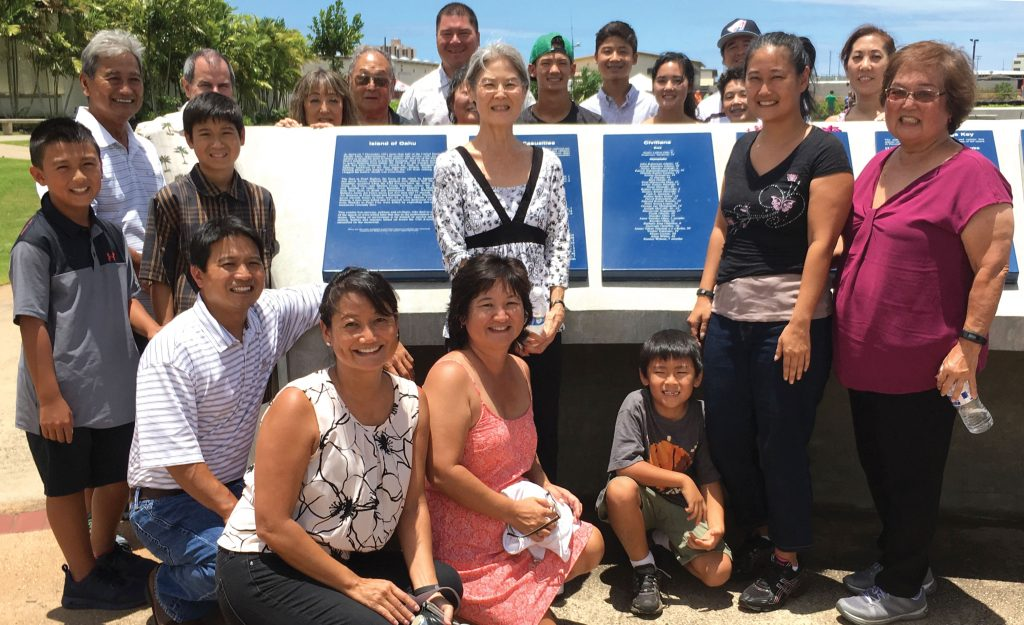Kisa Hatate's descendants gathered at Remembrance Circle, front row, kneeling, from left: Chet Taira, Channe Lake, Celia Phillips, Christian Cruz; second row: CJ Taira, Devn Lake, Beryle Ishizaki, Celyn Cruz, Jeanne Sato; third row: Chester Taira, David Matlin, Shirleen Horimoto, Kenneth Horimoto, Brandon Lake, Cheryl Taira, Cole Phillips, Adam Lake, Cara Phillips, Cade Phillips, Gary Phillips and Dana Matlin.