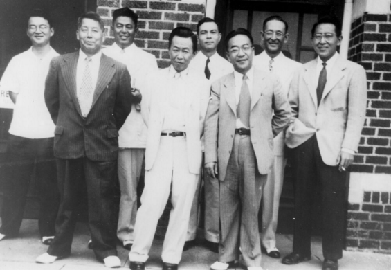 Members of the Japanese contingent in front of an OSU educational building. Photo courtesy the Sheerar Museum of Stillwater/This Land.